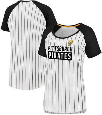 Women's Fanatics Branded White/Black Pittsburgh Pirates Plus Size Iconic Pinstripe Raglan T-Shirt