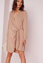 Missguided Crepe Wrap Shirt Dress Nude