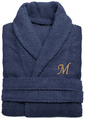 Linum Home Textiles Herringbone Weave Midnight Blue Bathrobe, Large/XLarge, Sand Letters,