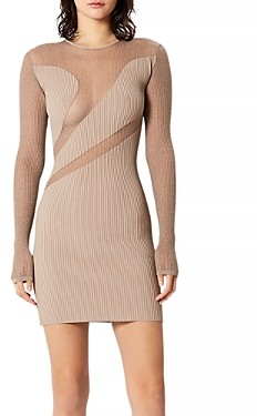 Herve Leger Opaque and Sheer Long Sleeve Bodycon Dress