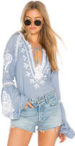 Karina Grimaldi Tom Embroidered Top in Blue