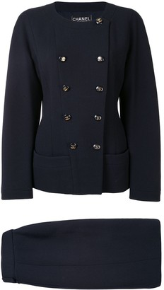 Chanel Pre Owned Collarless Double-Breasted Skirt Suit