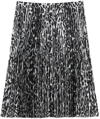 Burberry Rersby Leopard Print Pleated Skirt