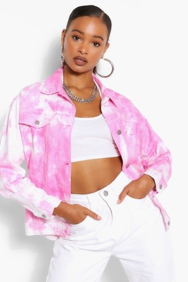 boohoo Oversized Tie Dye Denim Jacket