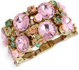 Betsey Johnson Gold-Tone Pink Crystal Metallic Leather Wide Link Bracelet