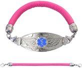 "Divoti Custom Engraved Angel Wing Medical Alert Bracelet -Pink Lamb Leather Band-Light Blue-8.5"""