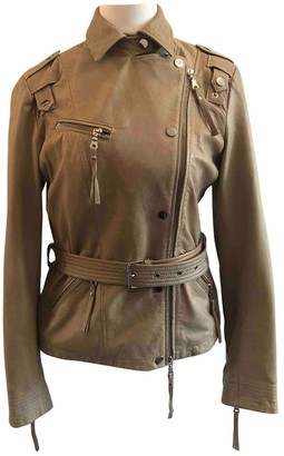 Nice Connection Beige Leather Leather Jacket for Women