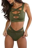Sell4Style Bikini Swimsuit,Women's Sexy Criss Cross High Waist Bandage Bikini Set Of 2