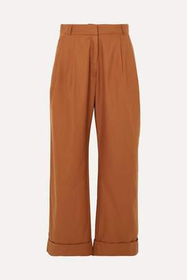 Matin MATIN - Cotton-twill Wide-leg Pants - Brown