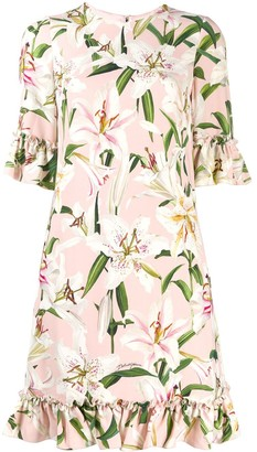Dolce & Gabbana Ruffled Lily-Print Dress
