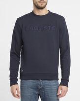 Lacoste Navy Cotton Piqué Burgundy Camouflage Logo Round-Neck Sweatshirt