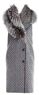 Fendi Women's Fox Fur Collar Geometric Kimono Wool Vest