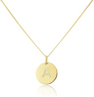 Auree Jewellery Westbourne Yellow Gold Initial Disc Pendant