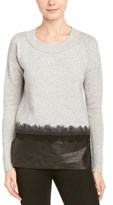 Andrew Marc Wool & Cashmere-blend Leather Trim Sweater.