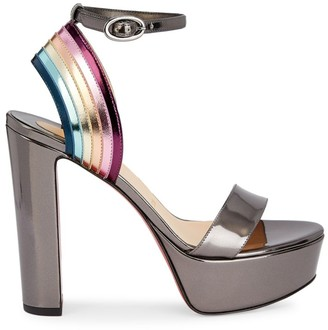 Christian Louboutin Arkendisc Metallic Leather Platform Sandals