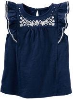 Osh Kosh Embroidered Ruffle-Sleeve Top