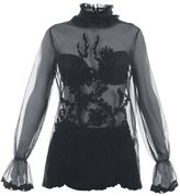 Blugirl Sheer Tulle Blouse With Embroidered Details