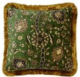 House Of Hackney - Zanjan Floral-print Fringed Velvet Cushion - Dark Green