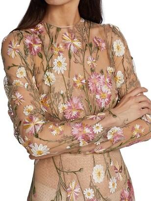 Naeem Khan Resort Floral-Embroidered Gown