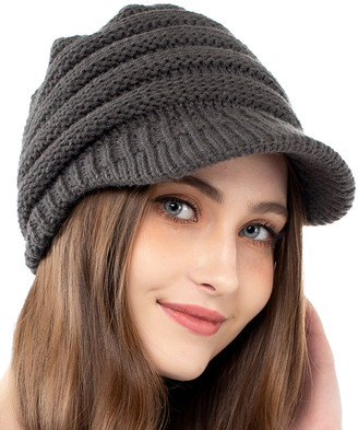 Kollie More Women's Beanies Grey - Gray Rib-Knit Brimmed Beanie - Women