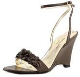 Donatella Lucchi Dl7010 Wedge Open Toe Leather Wedge Sandal.