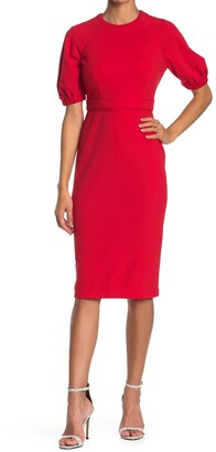 Maggy London Puff Sleeve Sheath Dress