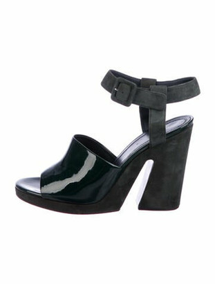 Celine Patent Leather Sandals Green