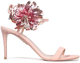 Aquazzura Disco Flower 85 Embellished Suede Sandals