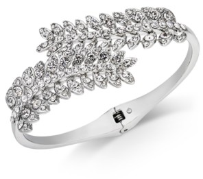 Charter Club Silver-Tone Cubic Zirconia Leaf Hinge Bangle Bracelet, Created for Macy's