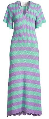 Victor Glemaud Short-Sleeve Striped Scalloped Crochet Midi Dress