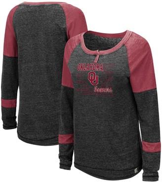 Colosseum Women's Heathered Black Oklahoma Sooners Miranda Henley Raglan Long Sleeve T-Shirt