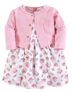Luvable Friends Baby Vision Baby Girl Dress and Cardigan, 2-Piece Set