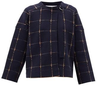 Chloé Windowpane-check Wool-blend Cropped Jacket - Blue Beige