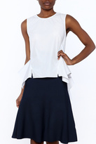 Do & Be White Sleeveless Peplum Blouse
