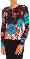 Issa Bess Printed Silk-Blend Knit Top