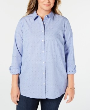 Charter Club Plus Size Cotton Dress Shirt, Created for Macy's