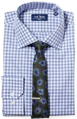 The Tie Bar Slate Blue Heathered Gingham Non-Iron Shirt