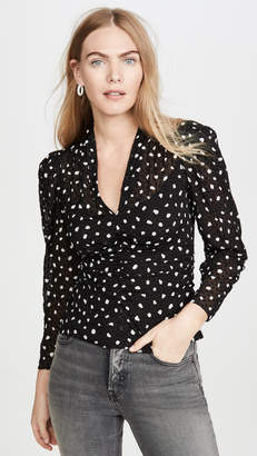 Rebecca Taylor Long Sleeve Dot V Neck Top