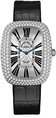 Franck Muller Galet White Gold, Diamond & Alligator Strap Watch