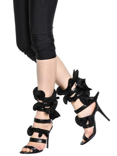 Ungaro 115mm Ruffled Nappa Leather Sandals