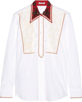 Miu Miu Lace-paneled embellished cotton-poplin shirt