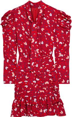 Walter Baker Kiara Tie-neck Ruched Floral-print Crepe De Chine Mini Dress