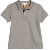 Burberry Short-Sleeve Pique Polo Shirt, Pale Gray Melange, Size 4-14