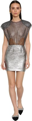 DANIELE CARLOTTA Tulle W/crystals Sheer Mini Dress