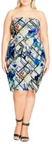 City Chic Plus Size Women's Orchid Print Strapless Sheath Dress