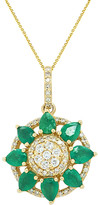Diana M Fine Jewelry 14K 1.34 Ct. Tw. Diamond & Emerald Necklace
