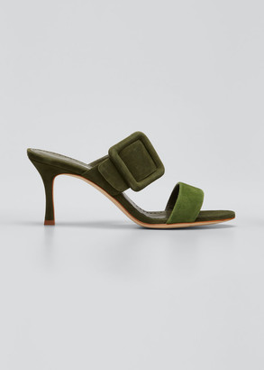 Manolo Blahnik 70mm Gable Suede Buckle Slide Sandals