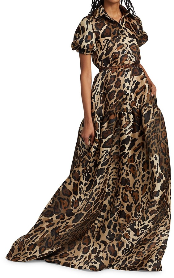 Thumbnail for your product : Naeem Khan Leopard-Print Silk Collared Gown