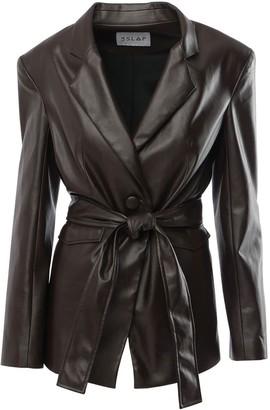 Le Slap 1990 Forest Brown Vegan Leather Jacket With Belt