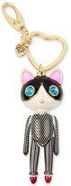 Betsey Johnson Gold-Tone Striped Cat Key Chain